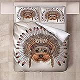 WTWE Juego de funda de edredón 3D para cama de matrimonio, 3 piezas, 200 x 200 cm, incluye 2 fundas de almohada de 50 x 75 cm