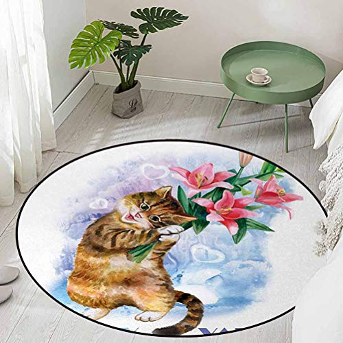 Round Office Chair Floor Mat Foot Pad Be My Love Theme with a Little Cute Baby Kitten and Garden Flowers Print Diameter 78 inch Abstract Design Area Rug