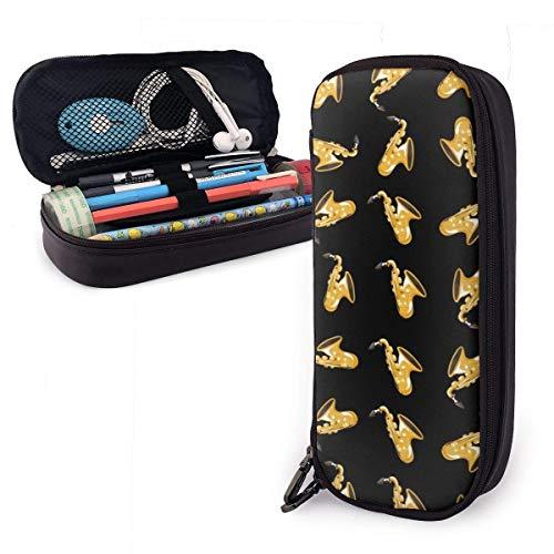 Potloodtas, grotere capaciteit |Handig ontworpen Potloodhouder Pen Bag Pouch voor school en kantoor benodigdheden - Muziek Saxofoon Cartoon Zwart