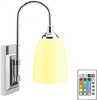 LUXSWAY 12 Colors Changing Wall Lamp Battery Operated, Dimmable Up/ Down Wall Sconce with Remote, Wireless Over Bed Headbo...
