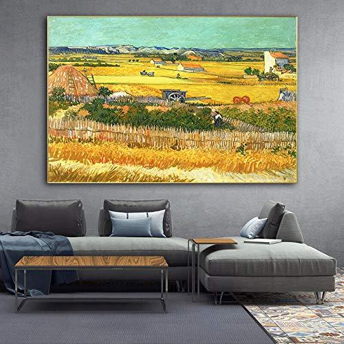 wZUN Póster de Lienzo de Pintura de Paisaje de Van Gogh y Mural Impreso, reproducción de Pintura de decoración de Sala de Estar 60X90 Sin Marco