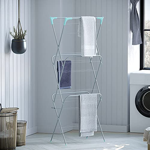Home Vida 3 Tier Clothes Airer, Indoor and Outdoor Laundry Drying Rack, 14 Meters, Silver