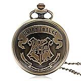 Orologio a cipollotto, da taschino, ispirato al mondo di Harry Potter, con incisione del simbolo di Hogwarts
