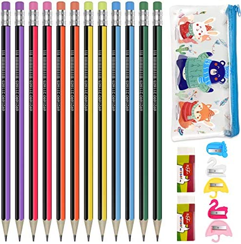 HB pencil School pencils set 12 pack with Sharpener and Eraser for Kids and Students Writing product image