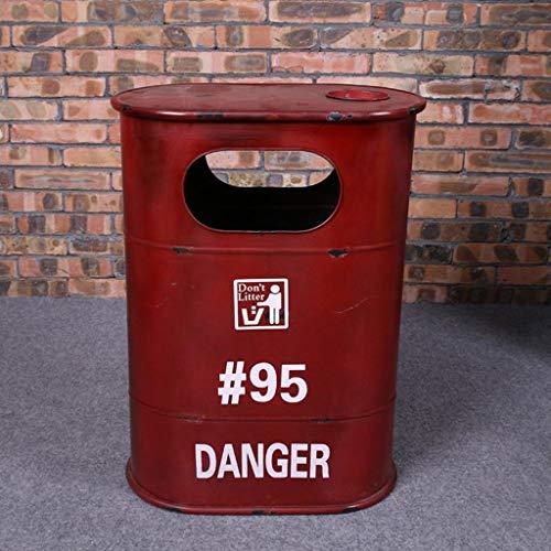 Outdoor Mülltonnen Abfalleimer Retro Industrial LOFT Eisen Tank Barrel Aufbewahrungsbox Bar Cafe Trash Abfall Recycling Outdoor Mülltonnen Abfalleimer (Color : Red, Größe : Ellipse)