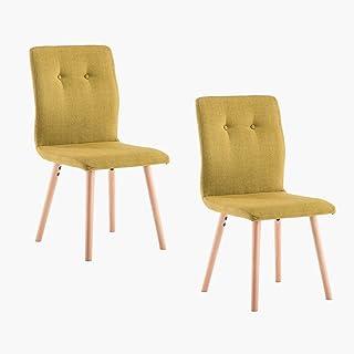 Marca Amazon -Movian Wye - Juego de 2 sillas de comedor amarillo mostaza