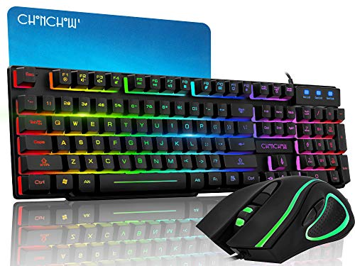 CHONCHOW Rainbow Gaming Keyboard and Mouse Combo Mechanical Feeling Wired LED Backlit Gaming Mouse and Keyboard Emitting Character Compatible with PC Windows PS4(Black)