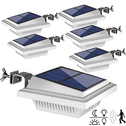 Dachrinne Solarleuchte mit Bewegungsmelder,【Hohe Qualität 40LED】Solarlampen für Außen, Weiße Gartenbeleuchtung Warmweißes Solarlicht, 3W PIR Sicherheitswandleuchte Außenlampe für Garten-6 Stücke