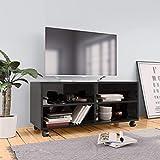 Tidyard Mueble de TV con Ruedas Aglomerado Negro 90x35x35 cm