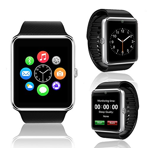 Android SmartWatch by Indigi - Bluetooth Compatible - Phonebook Sync - SMS Notifications & Dial/Pickup Calls