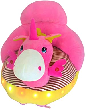 Royal Kids LED Light Toddler and Infant Plush Baby Lazy Sofa Chair (Pink Unicorn)