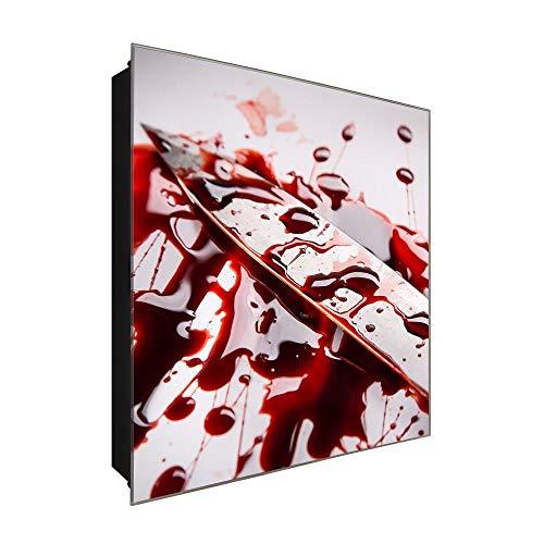 DekoGlas Schlüsselkasten 'Tatwaffe' 30x30 Glas, inkl. Haken Schlüsselbrett Schlüssel-Box Design Aufbewahrung