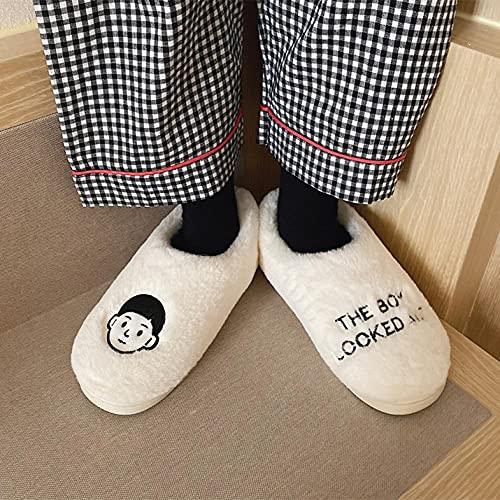 Perferct Zapatillas De Estar En Casa NiñO,Zapatillas De AlgodóN De Hombre Y OtoñO E Invierno, Zapatos De AlgodóN De Felpa Interior De Moda De Moda De Dibujos Animados Lindo-43-44_pag