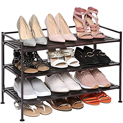 Seville Classics 3-Tier Stackable 12-Pair Woodgrain Resin Shoe Rack Organizer Sturdy Metal Storage Shelf for Bedroom, Closet, Entryway, Dorm Room, Espresso Slat