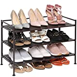 Seville Classics 3-Tier Stackable 12-Pair Woodgrain Resin Slat Shelf Sturdy Metal Frame Shoe Storage Rack Organizer, Perfect for Bedroom, Closet, Entryway, Dorm Room, Espresso