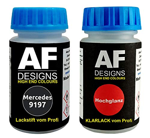 Lackstift für Mercedes/Daimler Benz 9197 Obsidianschwarz Metallic + Klarlack je 50ml Autolack Basislack Set