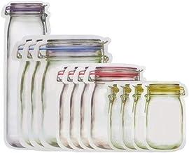 10/12Pcs Jar Shape Zipper Bag Reusable Snack Saver Food Sandwich Storage Pouch Kitchen Gadgets Kitchen Accessories (Color ...