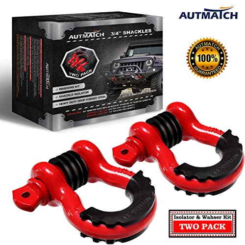 """AUTMATCH Shackles 3/4"""" D Ring Shackle (2 Pack) 41,887Ibs Break Strength with 7/8"""" Screw Pin and Shackle Isolator & Washers Kit for Tow Strap Winch Off Road Accessory Vehicle Recovery Red"""