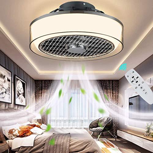 Ventilador de techo con iluminación, silencioso, LED, invisible, lámpara de techo, moderna, redonda, regulable, con mando a distancia, 3 velocidades de viento ajustables, para salón o dormitorio