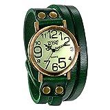 JewelryWe Herren Damen Armbanduhr, Grün Leder Armband Wickelarmband, Casual Retro, Analog Quarz Uhr, Vintage grünes Digital Zifferblatt