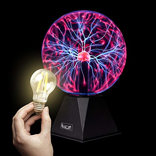 Katzco Red Plasma Ball with Scientific Lightning Charged Bulb - 2 Piece Kit - 8 Inch Reactive Lamp, Nebula, Lightning, Plug-in - for Parties, Decorations, Prop, Home