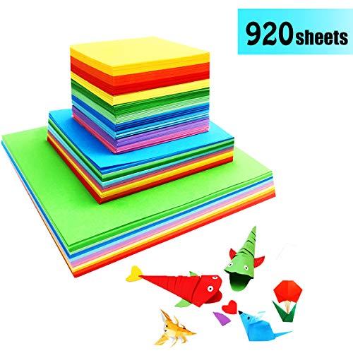 GoodtoU Farbiges Origami-Papier - 920 Blatt quadratische farbige Papiere Doppelseitiges Bastelkunstpapier für Heimwerkerhandwerk