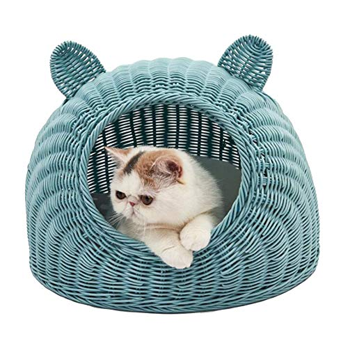 DYYTRm Cat Bed Cat Willow Rattan,Cute Cat Ears Shaped Wicker Bed Sleeping Basket is The Perfect Sleeping and Resting Bed