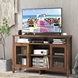 TV Stand for TVs Up to 59 Inches Farmhouse Console Table Storage Cabinet Sideboard Modern Entertainment Center with 2 Acrylic Glass Door Media Stand W/Cable Management Hole-Brown A