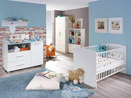 lifestyle4living 4-TLG. Babyzimmer, Kinderzimmer, Komplett-Set, Babymöbel, Junge, Mädchen, Kleiderschrank, Wickelkommode, Babybett, Highboard, weiß, Hochglanz