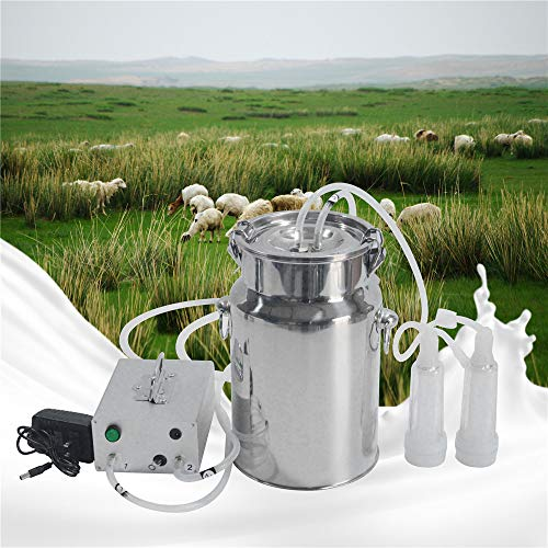 S SMAUTOP 7L Electric Milking Machine for Goat Cow Stainless Steel Vacuum Pump Bucket Automatic Portable Livestock for Farm Household Goat Milker 110V