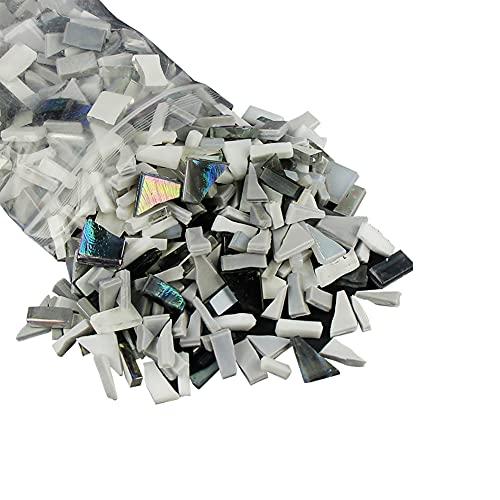 JIHUOO 250g mezclado forma irregular mosaico de vidrio piezas chips para bricolaje artesanía decoración negro blanco gris