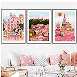bdkym Italia Positano Travel Pisa Lisboa Barcelons Poster Pink Moscow Print Lienzo Arte De La Pared Pintura Decoración del Hogar Imagen Poster-40X60Cmx3 Sin Marco