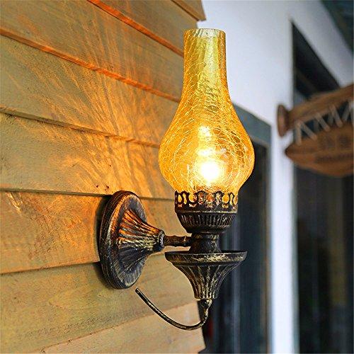 JJZHG Wandlamp, waterdicht, wandverlichting, retro wandlamp, creatieve ouderwetse wandlamp, balkon, gang, slaapkamer, bedlampje, wandlamp, geel, scheur, lampenkap, wandlamp