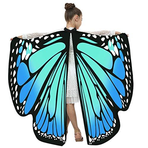 Battnot Schmetterling Kostüm Kinder Jungen Mädchen Choker Schmetterlingsflügel 108x136CM Tanzzubehör Rosa, Karneval Party Cosplay Kleidung Poncho Fee Nymphe Pixie Elf Kostüm Zusatz Butterfly Wings