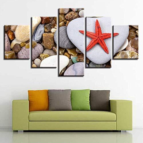 Pintura en lienzo Arte de la pared 5 piezas HD Mural Estrella de mar y piedra Lienzo modular Lienzo moderno Cuadro con póster-Marco 30x40 30x60 30x80cm