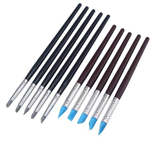 10 Unidades Arcilla Color Sculpting Shapers Clay Flexible Punta de Goma Shaping Pen Limpiar Pinceles de Pintura Herramientas de Talla