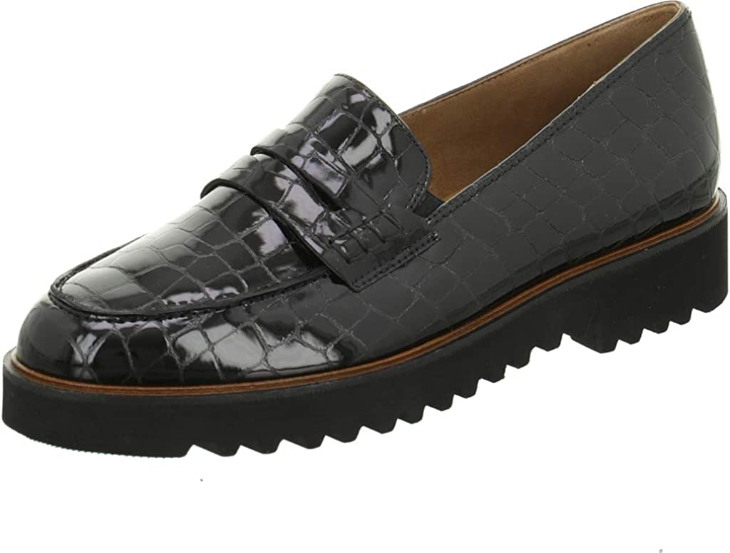Paul Green 2651-01 Black Patent Leather Womens Slip On Loafer Shoes