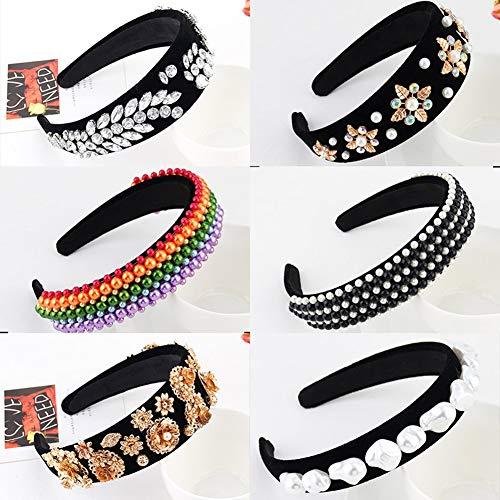 puran Bandeaux Ethniques pour Femmes, Strass Faux Pearl Flower Bandeau Hairband Hair Hoop Accessoire dix#