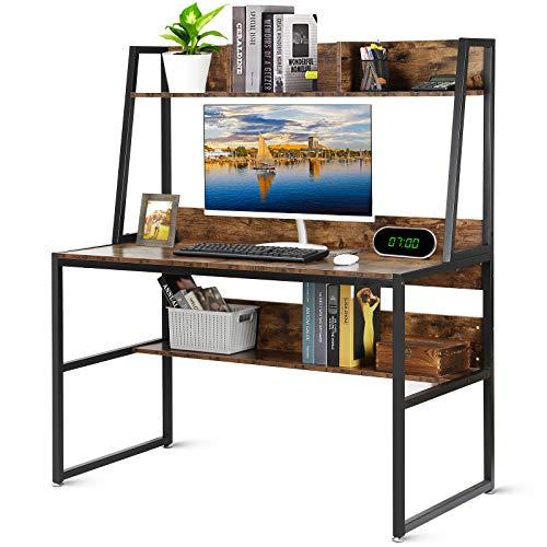 Hossejoy Computer Desk with Storage Shelves, 47.2 Inch Home Office Writing Desk, Work Study Table, PC Laptop Corner Desk Workstation with Bookshelf (Rustic Brown)