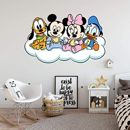 Walt Disney Baby Mickey Minnie Donald Daisy Goofy and Pluto Wall Decal - 13' x 20' Removable Kids Bedroom Nursery Walt Disney Cartoon Characters Home Adhesive Decoration Sticker