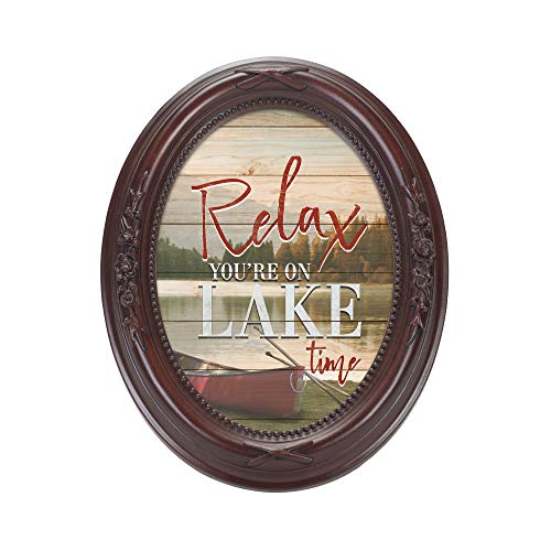 Cottage Garden Relax, You're On Lake Time Mahogany Finish Floral 5 x 7 Oval Table and Wall Photo Frame