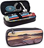 KLKLK Mäppchen Seascape Printed Pencil Bag Bled Lake Sand Hills Branches Waterscape Sun Rays Sunrise Morning View Double-Sided Printing Orange Umber Lilac