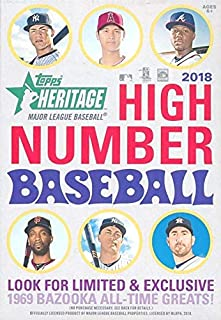 2018 Topps Heritage High Number Baseball EXCLUSIVE Factory Sealed HANGER Box! Look for RC's & Auto's of Juan Soto, Shohei Ohtani, Gleyber Torres & More! Look for REAL ONE Blue Ink AUTOGRAPHS! WOWZZER!