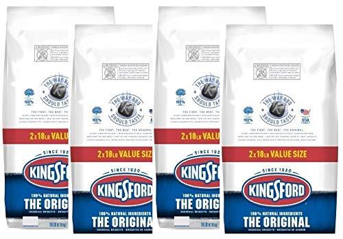 【正規輸入品】Kingsford キングスフォード オリジナルチャコール BBQ用炭 (Kingsford Original Charcoal) バーベキュー BBQ 炭 チャコール ブリケット (約8.16kg (18LB) x 4袋)