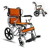 ZDD Turismos portátil Silla de Ruedas, Respaldo Ajustable Silla de Ruedas Plegable Médico/Viajes para Personas Mayores y discapacitados,Naranja,HandlebarUnfoldable