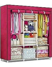 Shopper 52 Fancy & Portable Fabric Collapsible Foldable Clothes Closet Wardrobe Storage Rack Organizer Cabinet Cupboard Almirah 3 Door Wardrobe Collapsible Wardrobe (Maroon) - 88130A-MR
