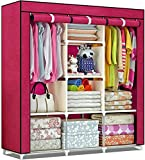 shopper 52 Aluminium Fancy and Portable Fabric Collapsible Foldable 3 Door Clothes Storage