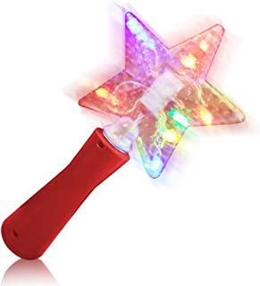 ArtCreativity 10 Inch Light Up Star Magic Wand for Kids - Magical Fairy Princess Costume Prop, Toy for Girls - Multi-Color Flashing LEDs - Batteries Included - Red