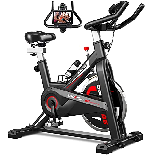 YONKFUL Indoor Cycling Bike Stationary Bicycle Belt Drive Exercise Bikes with LCD Monitor Home Cardio Bike
