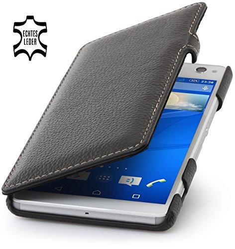 StilGut Book Type Hülle mit Clip, Hülle aus Leder für Sony Xperia C4, schwarz
